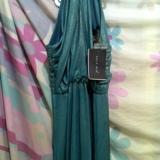 Long Dress Party Green Metallic By SOLEMIO