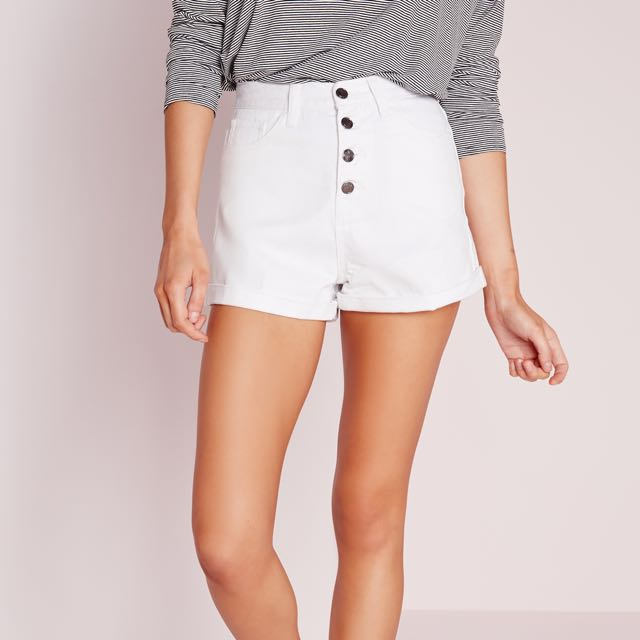 Missguided Button Front High Waisted Shorts