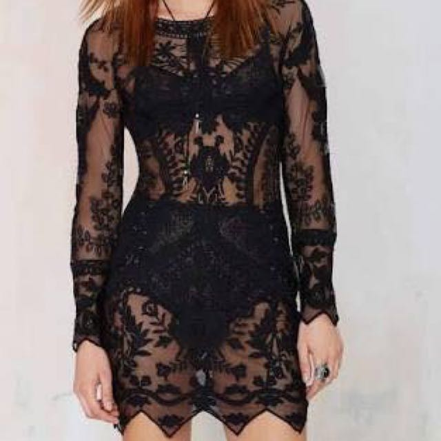 Nasty gal Black Lace Dress
