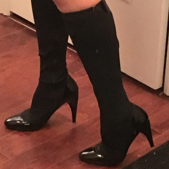 Nine West Boots With Patent Leather Detail US Size 7 #dirty30