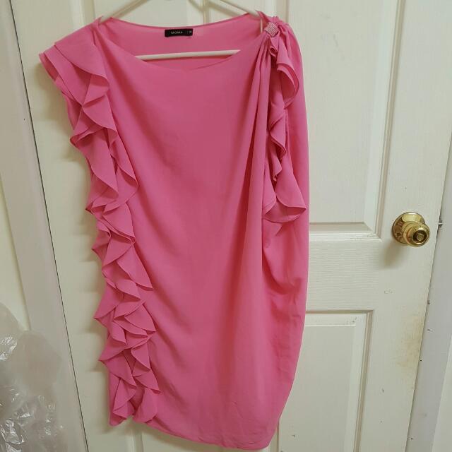 Pink ruffle cocktail dress