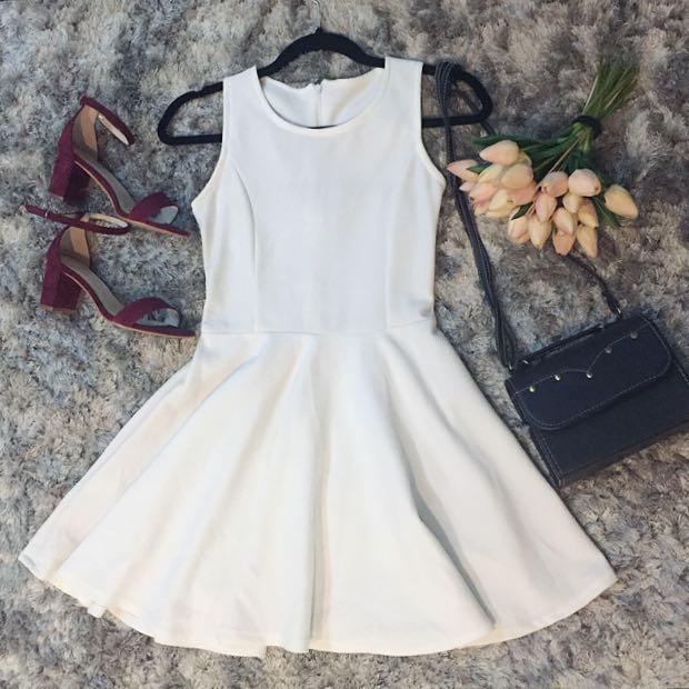 Plain White Skater Dress (Free Shipping)