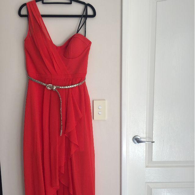 Red Draped Maxi Dress