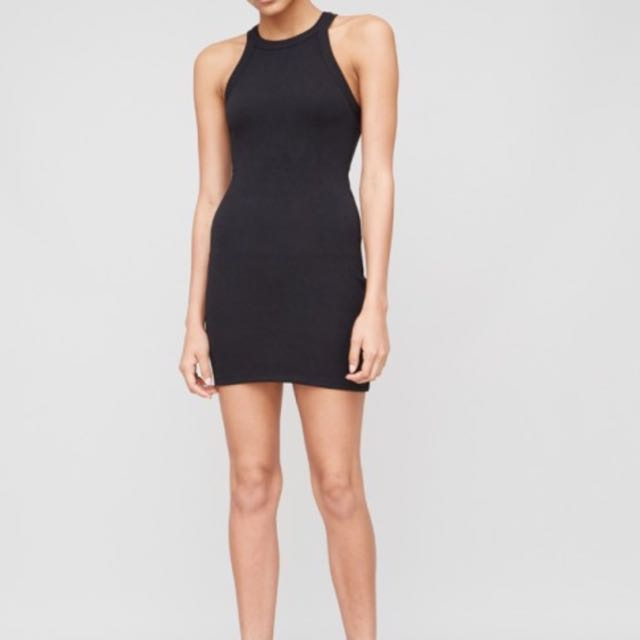 RIBBED HALTER TANK DRESS IN BLACK BY A/OK Size Small