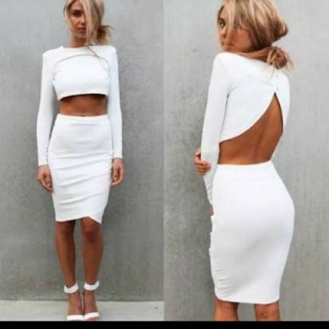 Rihanna Inspired White Bodycon Set