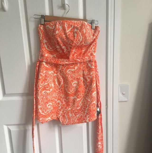 Sheike Orange Paisley Patterned Jumpsuit