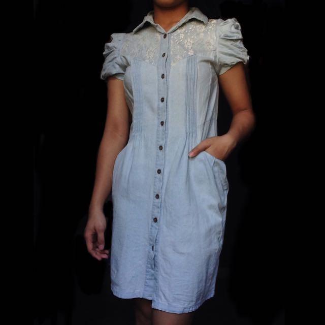 Short Sleeves Denim Dress