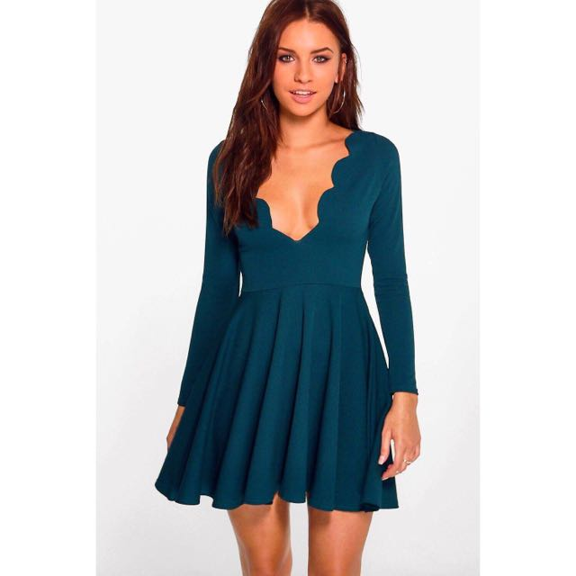 Small Scalloped Blue A-Line Dress