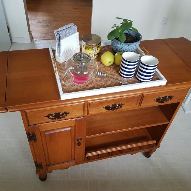 Solid Real Wood Vintage Server With Shelving And Storage