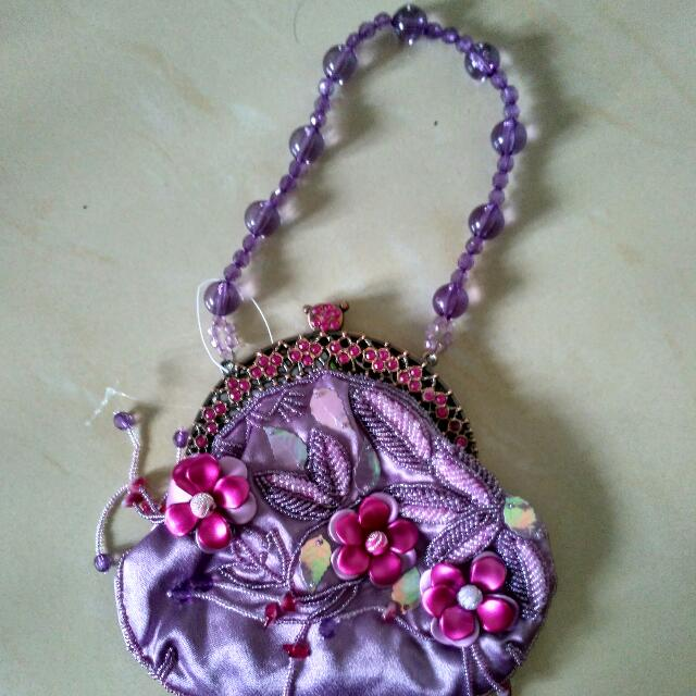 TAS Pesta Purple Satin With Embellishments