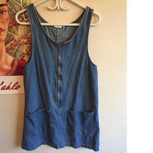 Vintage Denim Zip Up Dress