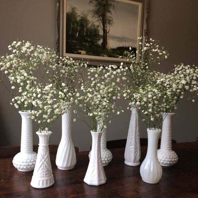 Vintage Milk Glass Vases! Perfect For Wedding Centre Pieces! 14 In Total!