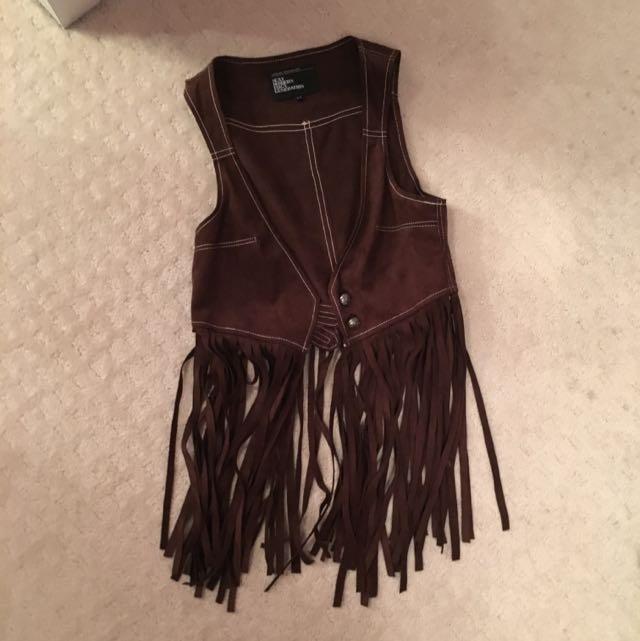 Western Style Frayed Vest