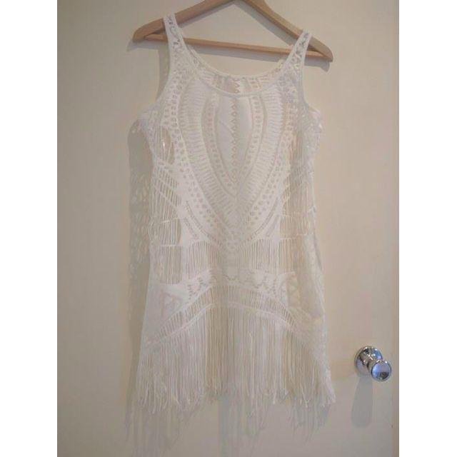 White Throw Over Dress
