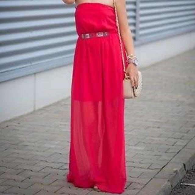 Zara Rapsberry Chiffon Tube Dress