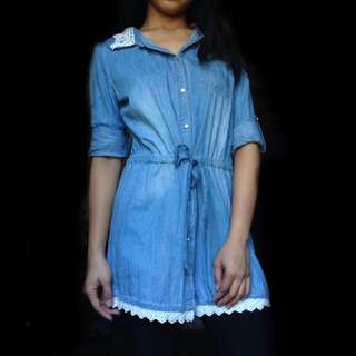 Long Denim Polo with Crocheted Collar