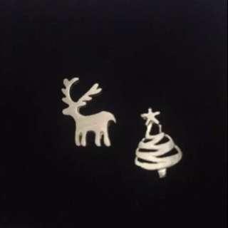 925純銀聖誕樹耳環免運