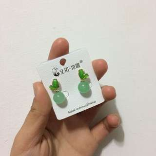 全新綠色球球耳環✨