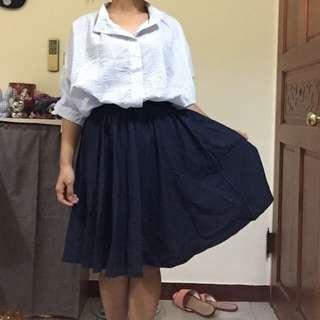 蜜桃絨深藍中長裙