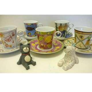 ♥ 瓷杯組 5杯5盤 輕巧可愛 下午茶 咖啡杯 花茶杯 果汁杯 ♥