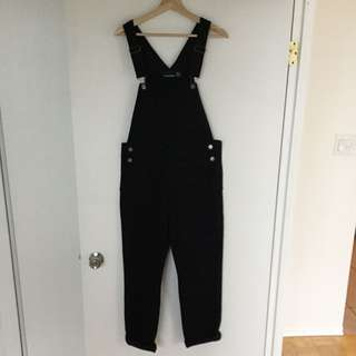 American Apparel Black Denim Overalls Size S