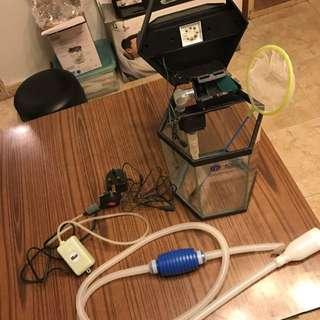 六角LED風水魚缸