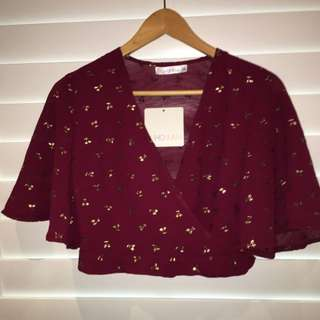 Burgundy Gold Cherry Wrap Top
