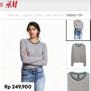 Baju HnM / Long Sleeve/ Kaos Casual