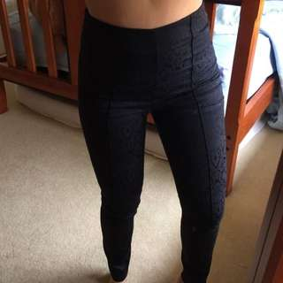 high waisted patterned black pants