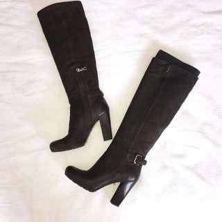 PRADA Capra Aantic Ebano Knee High Boots