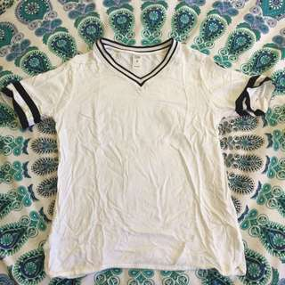 White T-shirt With Black Striped Sleeves And Collar