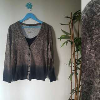 Washed Gray Knitted Cardi