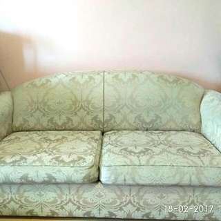Off-white Lace Pattern 2 Seater Sofa Bed