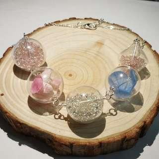 乾花玻璃球項鍊 handmade glass necklace