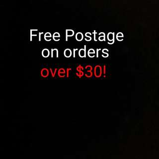 Free Postage on Orders over  $30