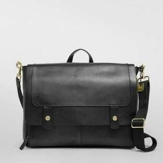 [原價Original $8,000+] Skagen Geninue Leather Navigator Bag 丹麥名牌全真皮黑色包