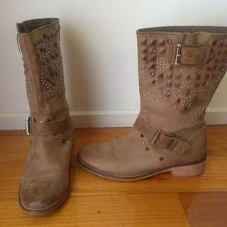 Mimco Brown Studded Flat Boots - Size 37