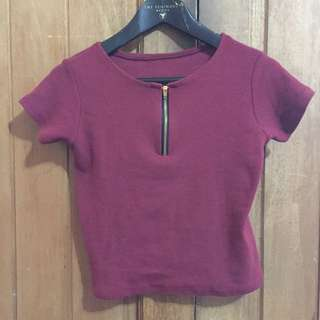 Semi Fitted Maroon Top