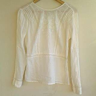 Cotton Blouse With White Embroidery