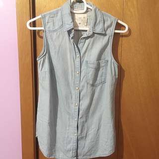 H&M Sleeveless Cotton Denim Shirt
