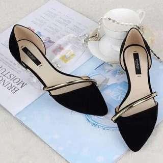 flat shoes black gold kerja
