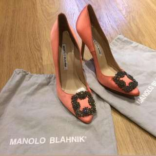 1d514d0e8f6 Authentic Manolo Blahnik Classic Hangisi Jewels Gems Salmon Coral Pink  Orange Heels Wedding Shoes Pumps Sz