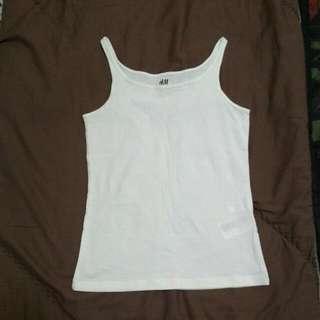 [出清] H&M 有機棉細肩背心 白色