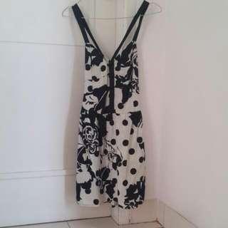 Dress Pesta Black White Monochrome
