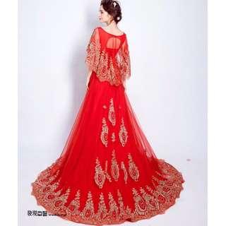 (◕‿◕)2017 奢華燙金 紅色新娘結婚敬酒服 拖尾婚紗禮服