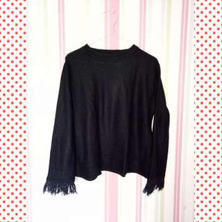 Baju panjang rajut hitam