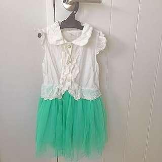 White And Green Tutu Dress