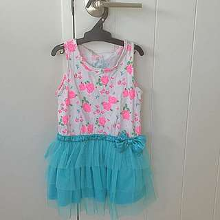 Pink Roses With Blue bow Tutu Dress