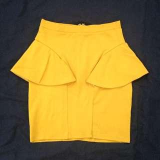 Mustard Yellow Mini Skirt Size 8
