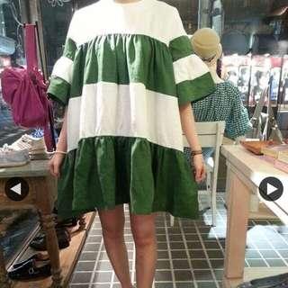綠白棉麻洋裝,原價2200